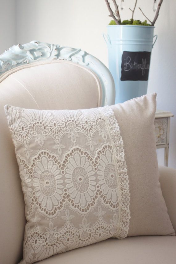 Vintage French cutwork embroidery pillow w/cream and fleur medallions design