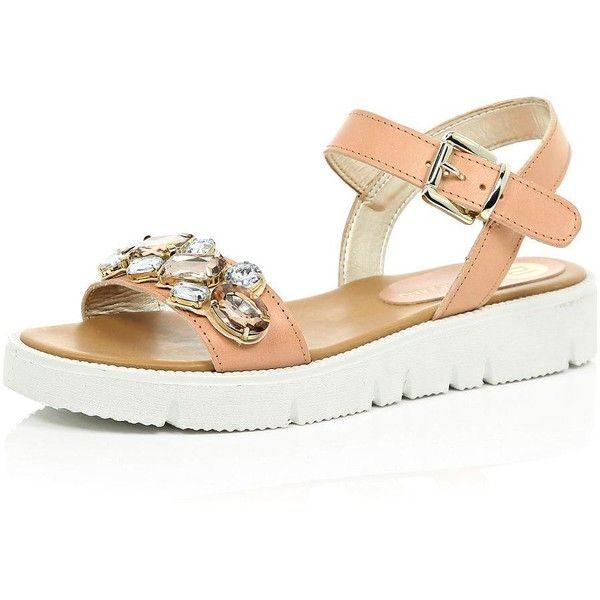 River Island Nude pink leather embellished sandals ($100) ❤ liked on  Polyvore