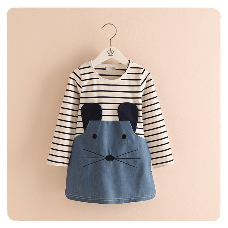 Retail 2 7Y Spring And Autumn New Children Clothing Striped Patchwork Character Baby Girls Dress Denim Long Sleeve Girls Dress-in Dresses from Mother & Kids on Aliexpress.com | Alibaba Group