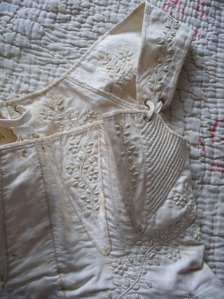 Original regency corset or stays c1820s with embroidery & owner's name