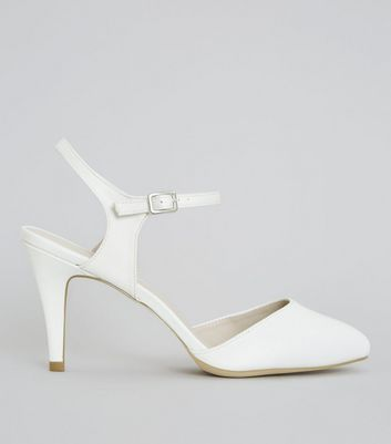 Wide Fit Ivory Satin Ankle Strap Court Shoes