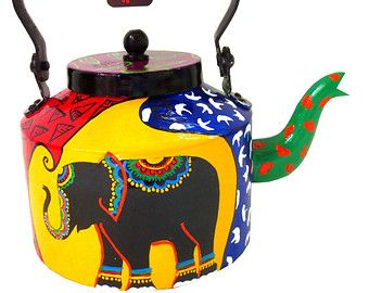Blue Dragonfly-hand-painted teapot/kettle form India