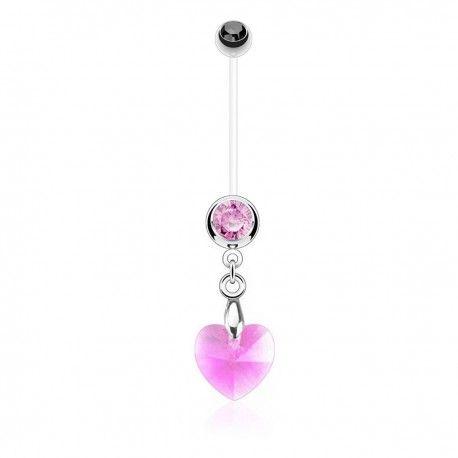 Piercing Nombril Grossesse Flexible pendentif coeur de Cristal rose https://piercing-pure.fr/p/637-piercing-nombril-grossesse-flexible-pendentif-coeur-de-cristal-rose.html #coeur #love #piercingnombril #piercinggrossesse #grossesse #piercing