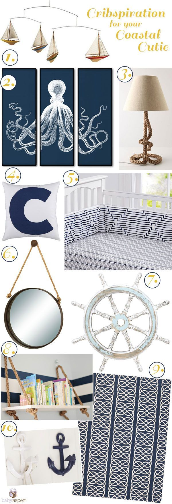 Nautical Nursery Ideas | Nursery Inspiration | Navy Nursery | Baby Aspen | http://babyaspen.com | http://blog.babyaspen.com | #cribspiration #babyaspen #nautical
