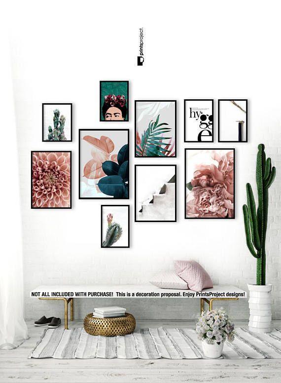 Blush Pink Leaves, Above Bed Wall Art, Wedding Gift, Blue Plant Print, Botanical Poster, Tropical Leaf, Digital Print Download Printable Art
