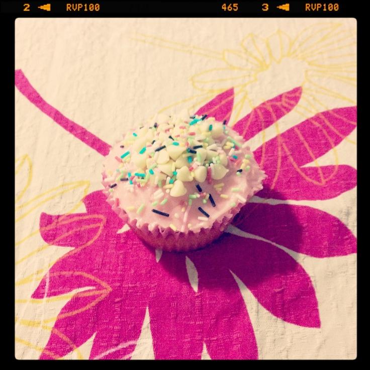 Pink coconut cupcake