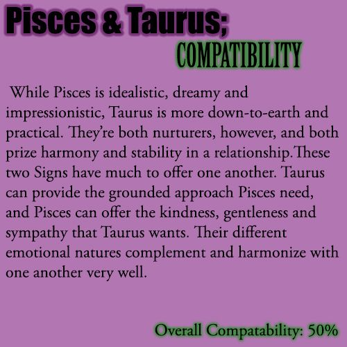 pisces and taurus love match The stubborn and responsible taurus man is just the right match for the sensitive and innocent pisces woman both of them have the natural inclination to care for the other when in a committed relationship astrologybay discusses the compatibility that a taurus man and a pisces woman share with each other.