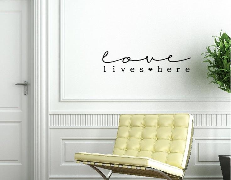 Love lives here. Custom Vinyl Wall Decal.. $10.00, via Etsy.