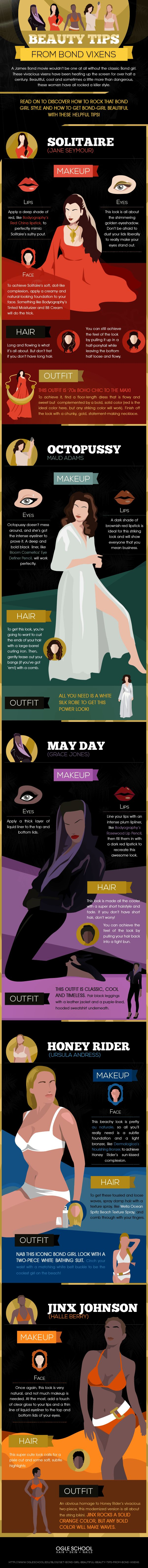 Get Bond Girl Beautiful Beauty Tips from Bond Vixens  [by Ogle School -- via #tipsographic]. More at tipsographic.com