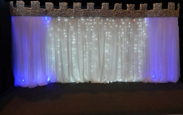 Fairytale backdrop which has been transformed into a castle backdrop and castelations manufactured by White Knights Ltd
