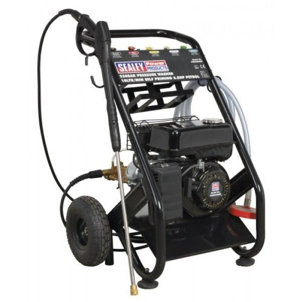 Petrol powered pressure washer with recoil starting. Ideal for commercial applications with 5mtr pressure hose, pick-up hose, 1mtr gun and lance and five interchangeable nozzles. Self priming pump makes this unit fully portable for reservoir pick-up, so can be used where no mains pressure is available. Can draw clean water from water butts and tanks. Low-pressure liquid detergent injection system with provision for detergent bottle storage.