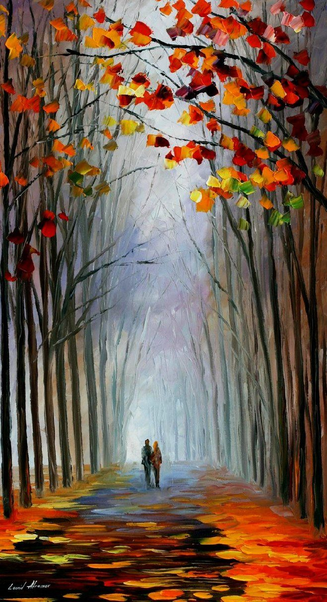 Autumn Fog - Leonid Afremov... ok so I am really inspired by his work and way with color!!