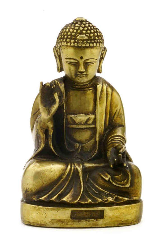 "Antique Brass Seated Buddha Shakyamuni Statue 7.5"" High Amitabha Budhism Figure"