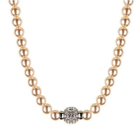 Ella Glass Pearl Necklace with Crystal Ball