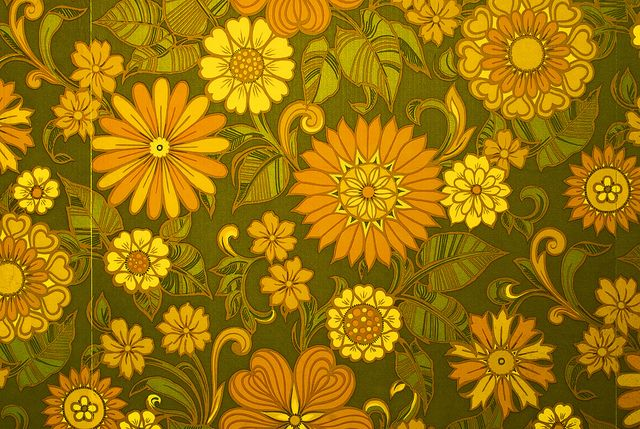 Sixties / Seventies Era Floral Print Wallpaper - Brian Eno Speaker Flowers Sound Installation at Marlborough House by Dominic's pics, via Flickr