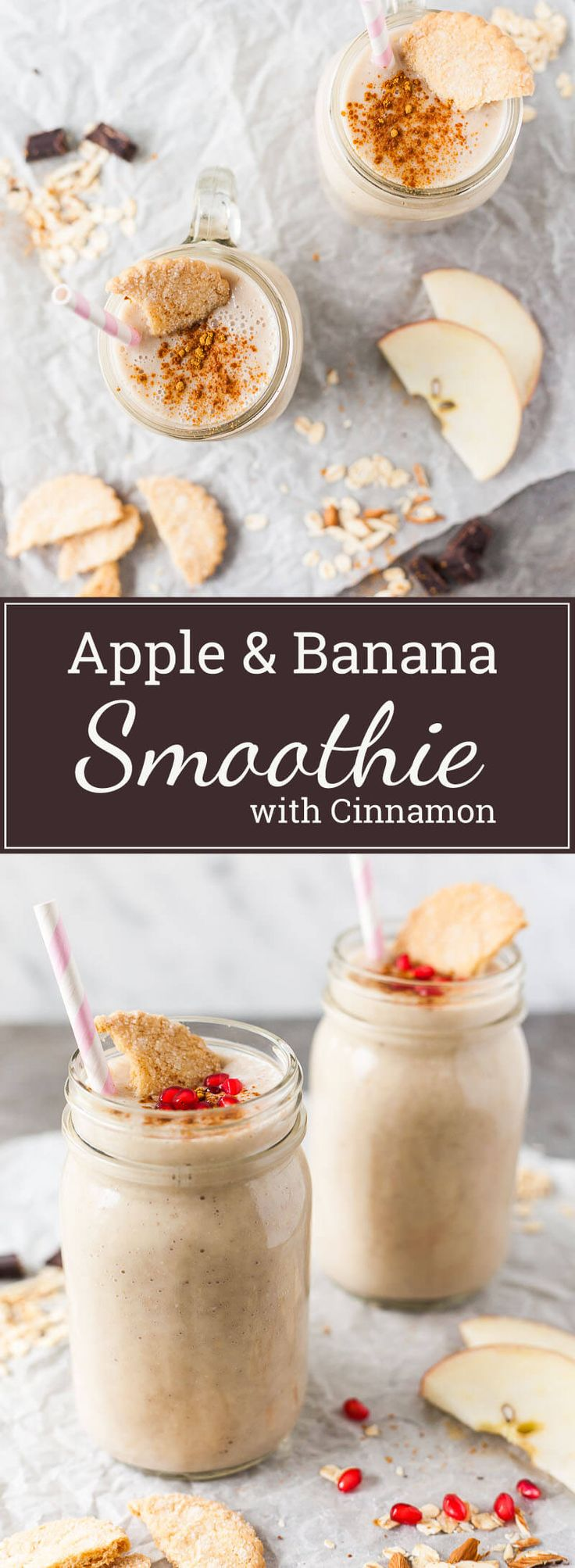 This simple Apple Banana Smoothie is delicious, nutritious and super easy to make. Just place everything in your blender, blend and … done! | www.vibrantplate.com