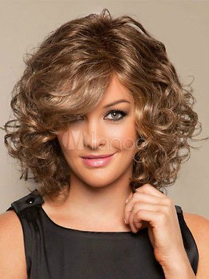 Fashion Wig New Charm Women's Medium Long Brown Blonde Curly Hair Wigs | eBay