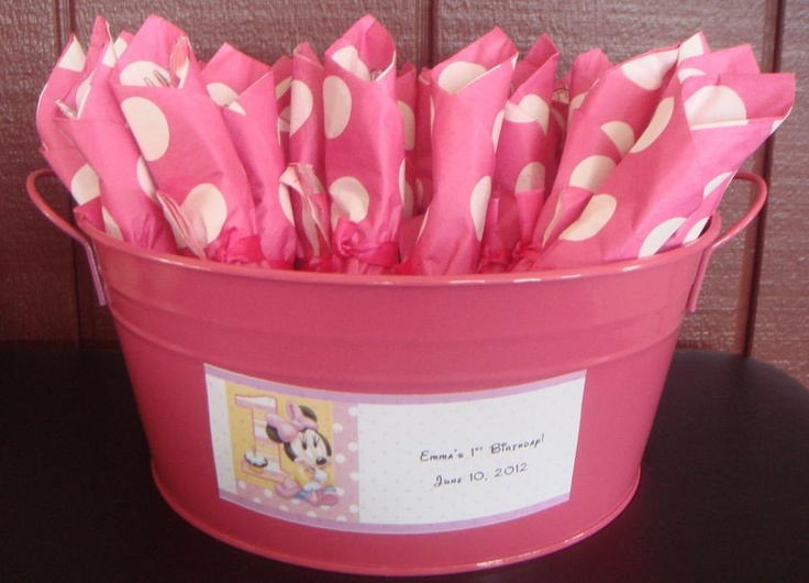 """Rolled Silverware for Minnie Mouse Birthday Party..."""