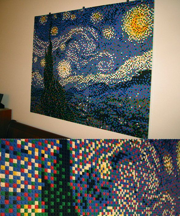 """'Starry Night' built with Legos 5K needs to do this for """"fine arts night"""" or whatever they call it!"""