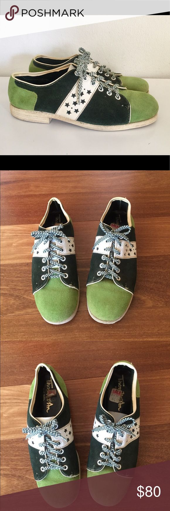 """Vintage 60s Bowling Shoes Two Tone Green 9 60s soft suede leather lace up rounded toe with a Two-tone green and white color block design with star cut outs on the uppers. The laces are green and white stripes, the interior is soft suede leather, the bottom soles are manmade.  Material: leather, rubber Maker: Thom Mcan Era: 60's Size: unmarked fit like mens 9M, going by fit and measurements  Measurements 10.75"""" insole 4"""" width (at the widest part of the shoe)  Condition: good used condition…"""