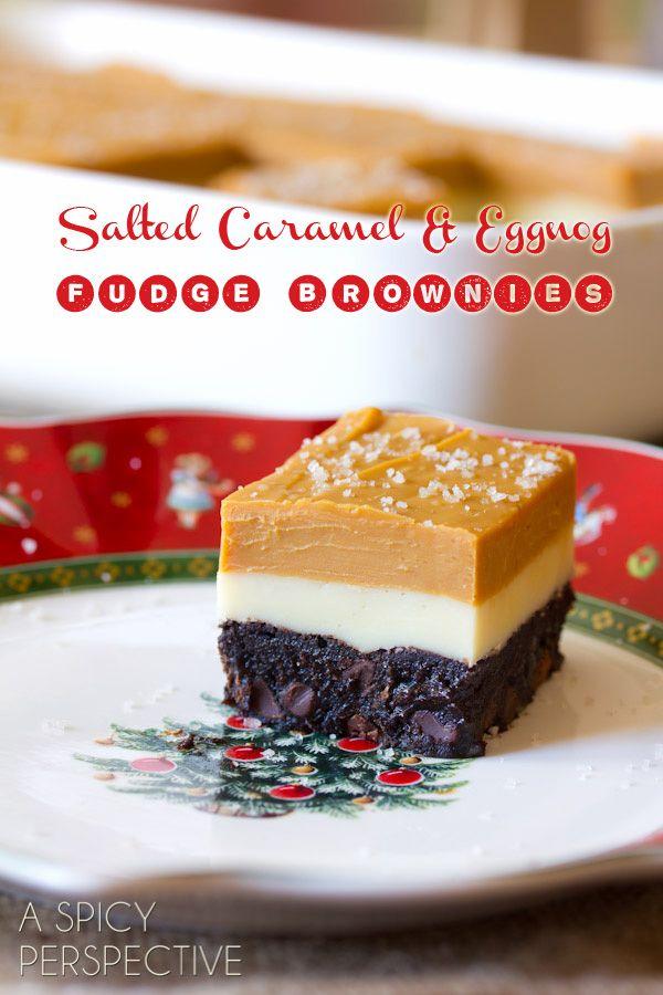 Salted Caramel & Eggnog Fudge Brownies Recipe ~ chocolate chunk homemade brownies layered in salted caramel and eggnog fudge, are the ultimate brownie experience!