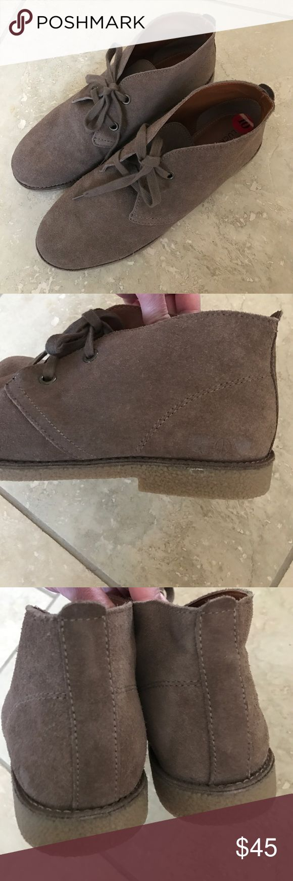 Suede low Lucky Brand boots In new condition!  Flat low boot!  Cute! Lucky Brand Shoes Ankle Boots & Booties