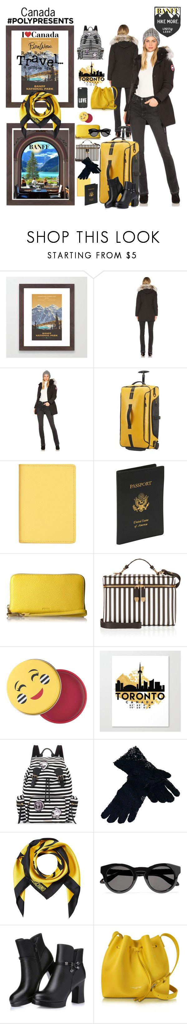 """""""#PolyPresents: Dream Vacation     Canada"""" by beleev ❤ liked on Polyvore featuring Canada Goose, Samsonite, Nordstrom, Royce Leather, FOSSIL, Henri Bendel, Sephora Collection, Burberry, Saro and Moschino"""