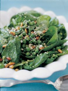 Barefoot Contessa pesto pea salad with spinach - a lunch spot near me serves a version of this, I have it almost every week!