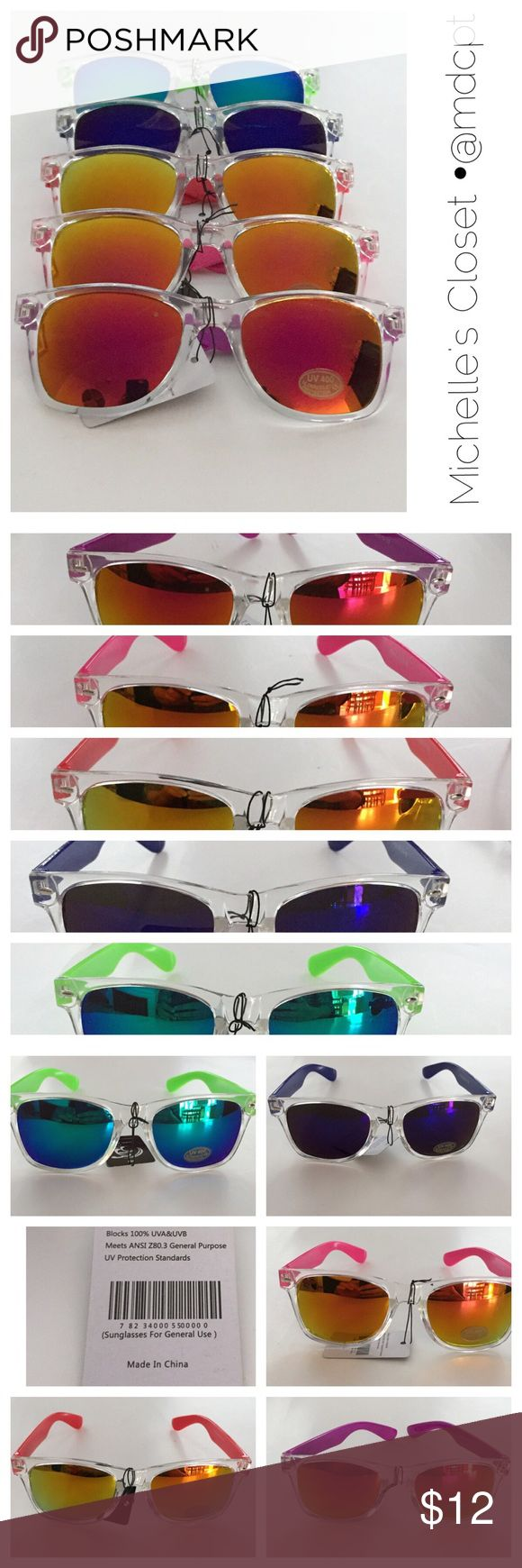 Transparent and color frame sunglasses Wayfarer shaped plastic frames, frame is clear in front, legs in different colors.  Color changing mirror lenses. Clear frames are trendy now. Accessories Sunglasses