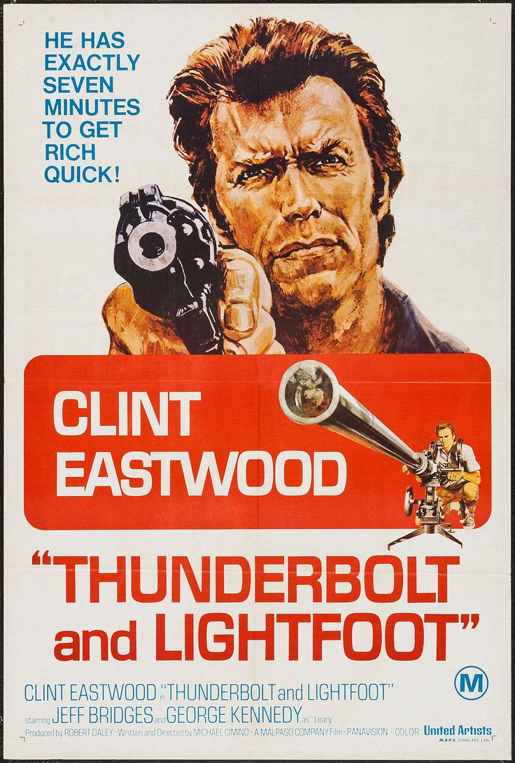 """Thunderbolt and Lightfoot (United Artists, 1974). Australian One Sheet (27"""" X 39.75""""). Crime. Starring Clint Eastwood, Jeff Bridges, George Kennedy, Geoffrey Lewis, Catherine Bach, Gary Busey, Burton Gilliam, Claudia Lennear, Bill McKinney, Vic Tayback, and Dub Taylor. Directed by Michael Cimino."""