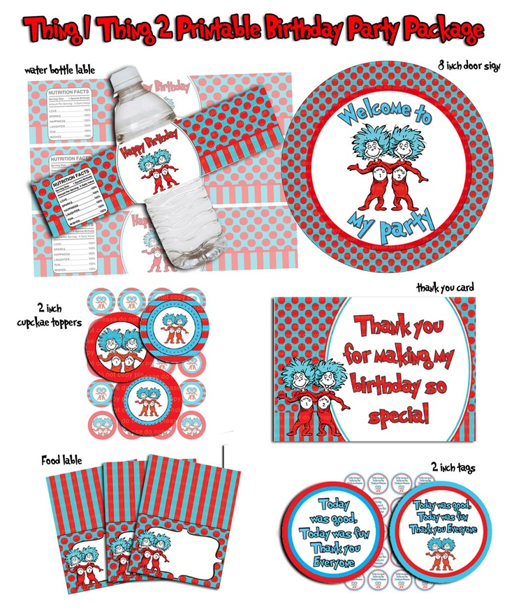 Thing 1 Thing 2- Printable Birthday party Package.