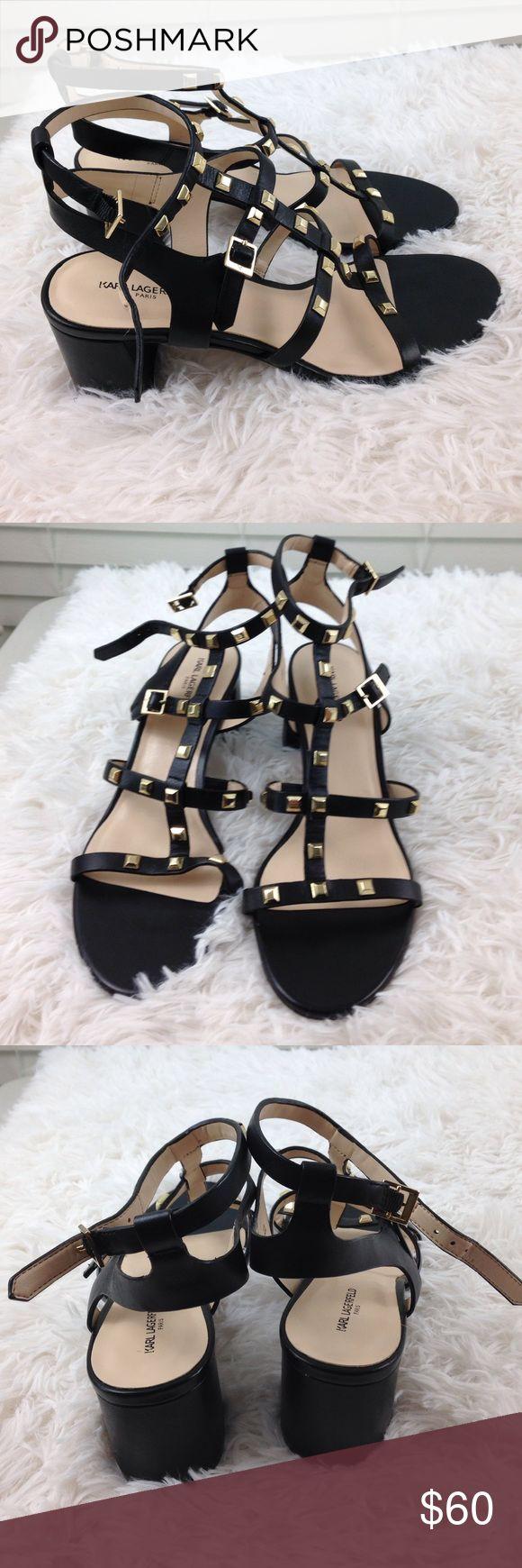 NEW Karl Lagerfeld Paris heels NEW Karl Lagerfeld Paris heels never worn, black leather, gold studs.   A3 Karl Lagerfeld Shoes Heels