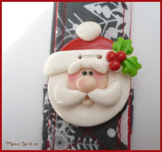 Lanyard with Polymer Clay Santa Grey by michellesclaybeads on Etsy