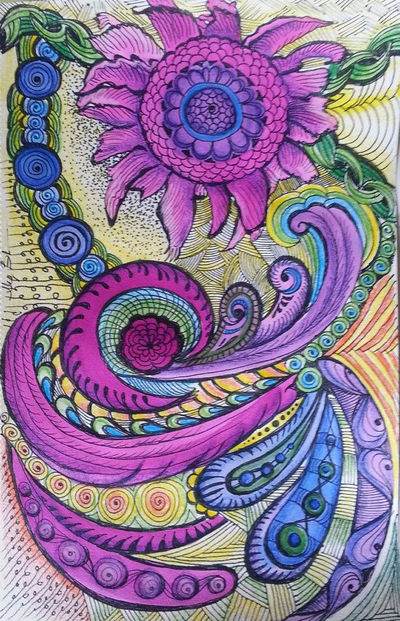 "Zentangle Inspired Original Multi-Media Drawing ""Purple Bloom"" water color, pen & ink and colored pencil original"