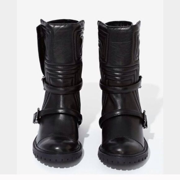Jeffrey Campbell Shutz Paolette Moto Boots Black leather, quilted design, adjustable buckle straps Jeffrey Campbell Shoes Combat & Moto Boots