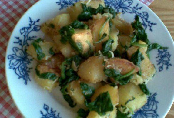 Špenátové brambory - příloha