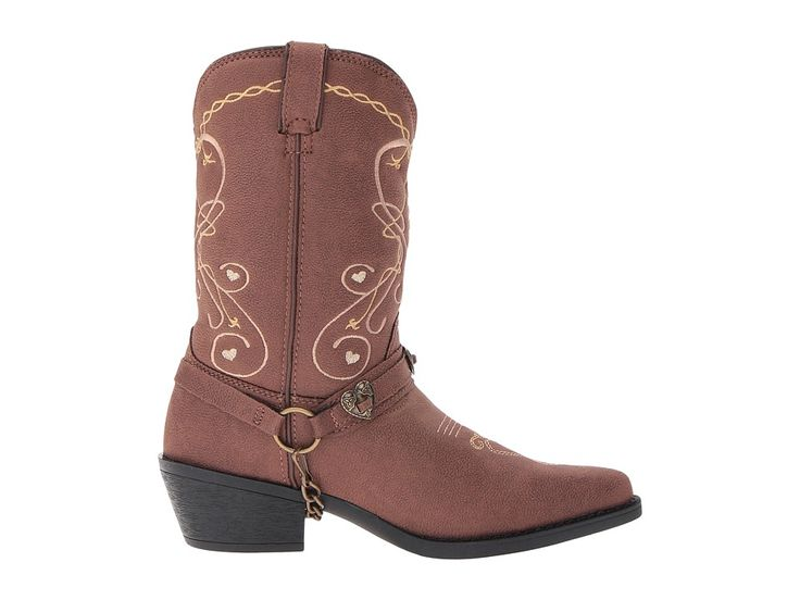 Durango Kids 8 Heartfelt Lil' Crush (Big Kid) Cowboy Boots Brown