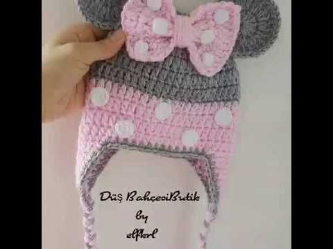 PINK MINNIE CROCHET HAT-Step by step