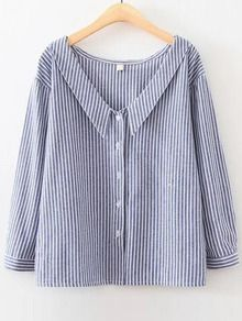 Blue Vertical Striped V Neck Button Up Blouse