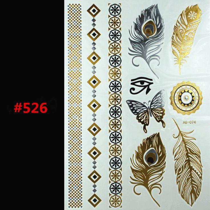 Free Shopping DIY metallic gold tattoo stickers glitter Inspired Gold Silver Shining Metallic Temporary Tattoo Flash Tattoos