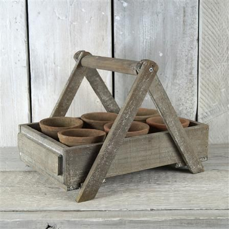 ACHICA | Satchville Garden Old Wooden Crate With 6 Antiqued Red Cactus Pots. 38 x 30 x 27cm. 18 GB pounds.
