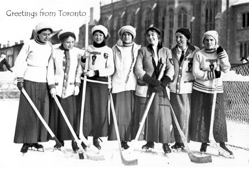 CCT0003 - University of Toronto Women's Hockey Team at Victoria College Rink - Burwish Hall in background. Toronto, Ontario c1912.