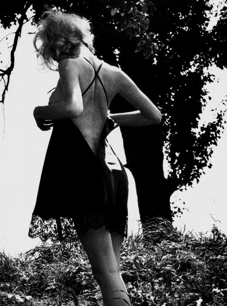 "lack lingerie. underwear as outerwear. summertime and the living is easy.   Vogue Italia September 1995""Bellisima""Model: Eva HerzigovaPhotographer: Ellen von Unwerth"