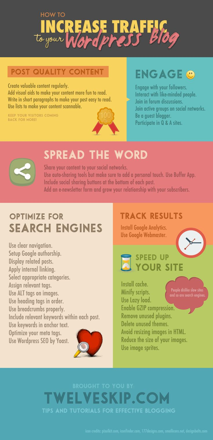 Learn how to increase traffic to your Wordpress blog @ http://www.twelveskip.com/guide/blogging/1187/ways-to-increase-traffic-to-wordpress-blog
