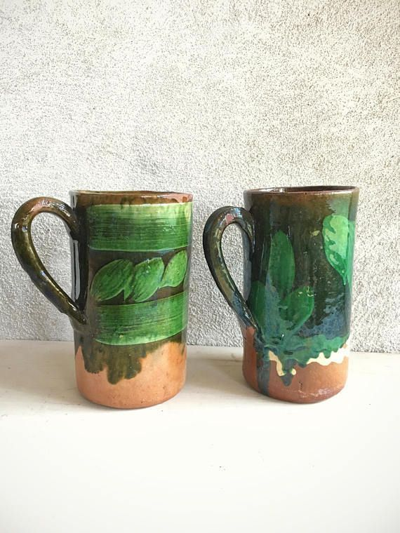 1940s 50s Mexican pottery green glaze mugs redware, vintage Tlaquepaque Mexican folk art, Mexican decor, hacienda decor, Southwestern decor