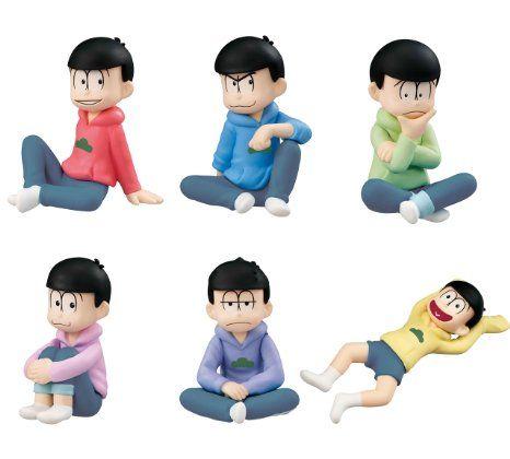 ※Not a Re-Ment!!※ メガハウス:パルメイトぷち おそ松さん やっぱパーカーは楽だよな!編 赤:おそ松、青:カラ松、黄緑:チョロ松、ピンク:トド松、紫:一松、黄:十四松