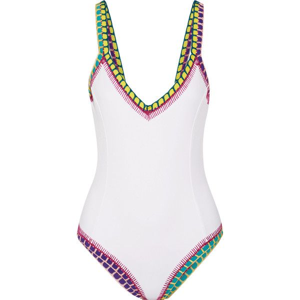 Kiini Yaz crochet-trimmed swimsuit (5,550 EGP) ❤ liked on Polyvore featuring swimwear, one-piece swimsuits, white, white one-piece swimsuits, crochet swimsuit, swim suits, white crochet bathing suit and scoop back one piece swimsuit