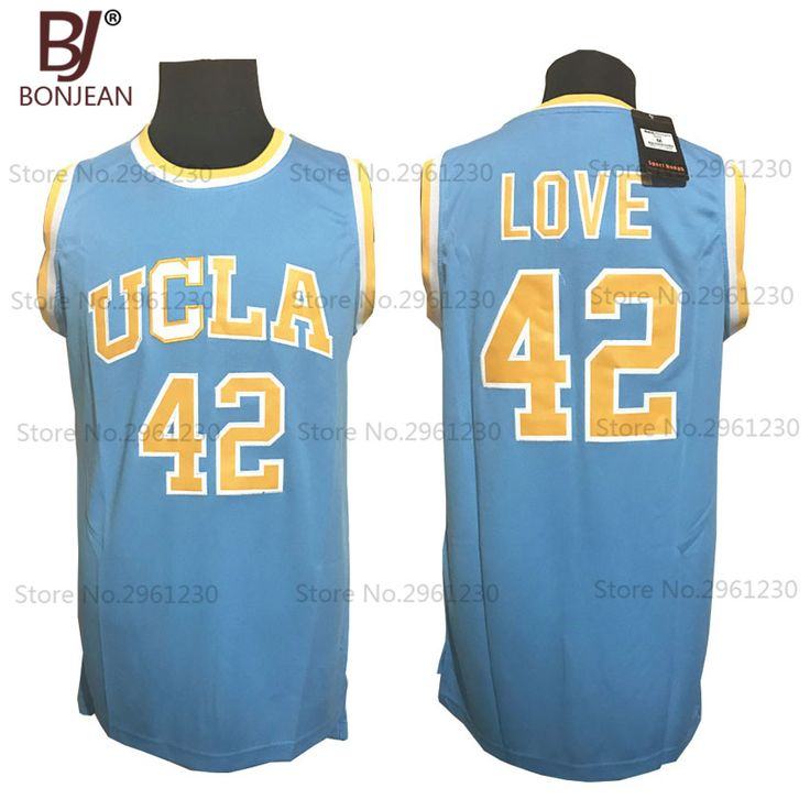 Cheap Mens UCLA Bruins College Basketball Jersey 42# Kevin Love Blue Embroidery Logos Stitched Jerseys Mens Shirts
