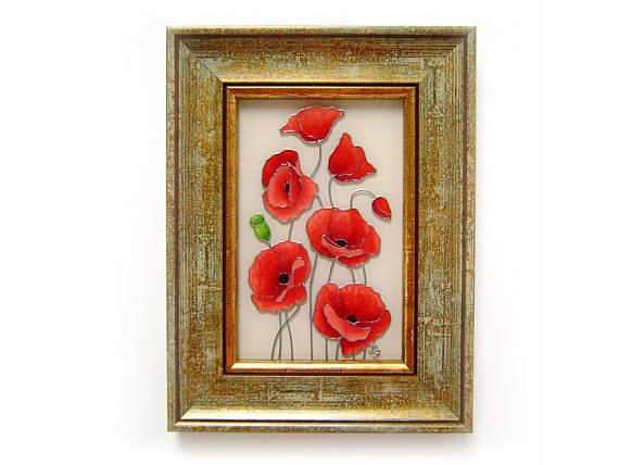 Poppy Painting with Antique Gold Color Frame Red Floral