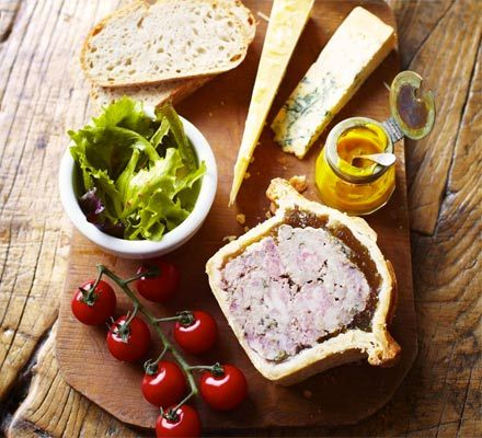 It's ambitious to make your own pie with hot water crust pastry, but it makes the perfect addition to a lunch platter with cheese, pickle, salad and bread